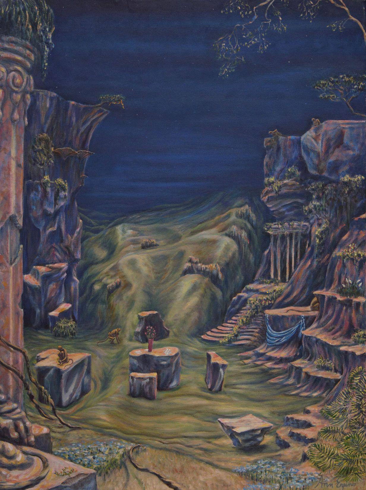 Monkey Temple at Midnight - oil on canvas, 24x18