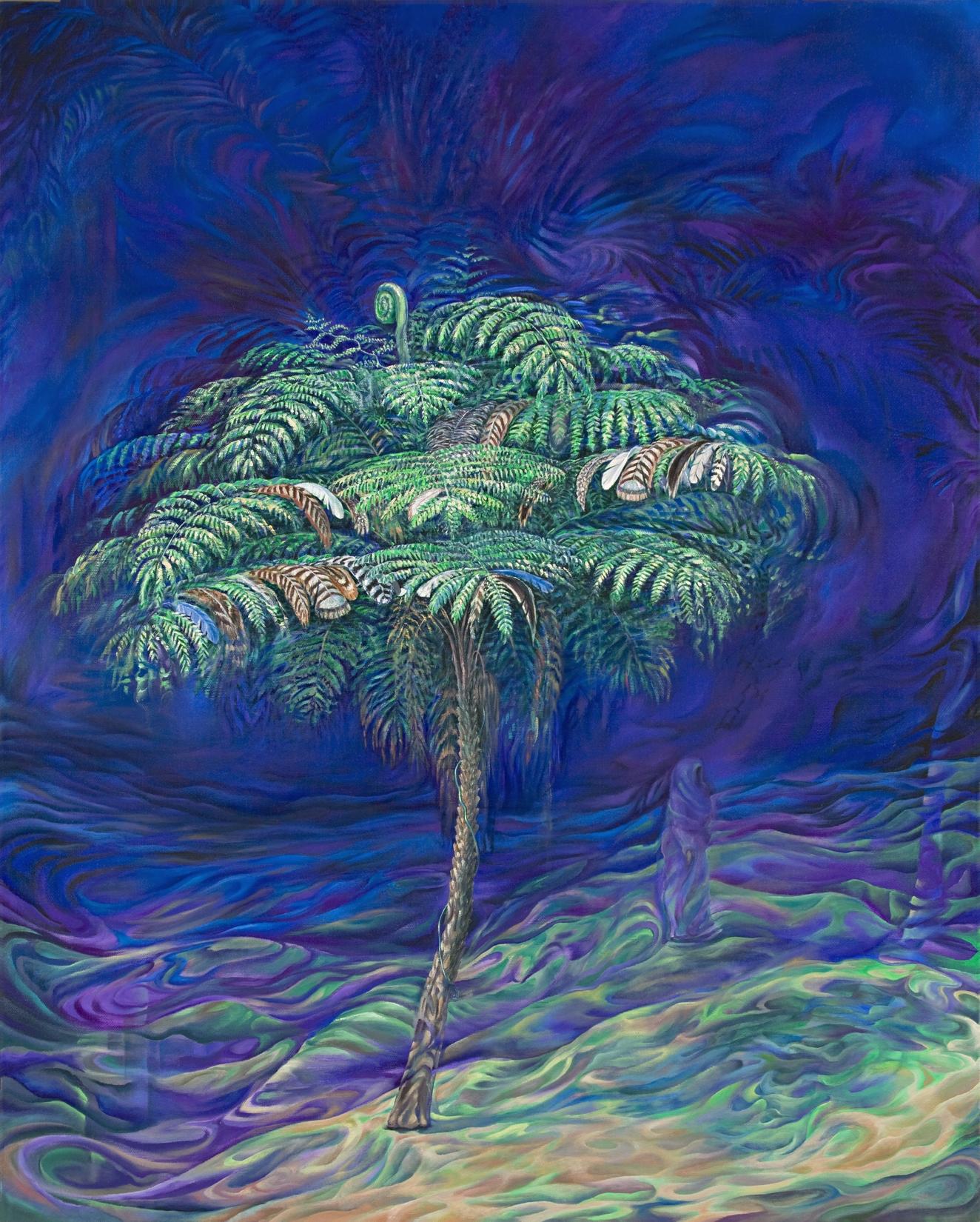 Shy Telepathic Treefern Model - oil on canvas, 30 x 24